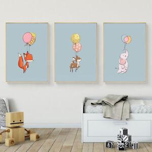 Hn Ke Cartoon Animal Canvas Wall Painting Poster Art Kids Room