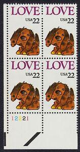 #2202 22c Amor: Cachorro, Placa Bloque [21112 Ll ] Nuevo Cualquier 4=