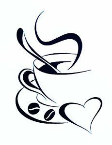 Wandsticker Wandaufkleber Küche Herz Kaffee Tasse Coffee Bohnen