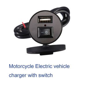 12v Motorcycle Usb Mobile Phone Gps Power Charger Adapter Switch Waterproof Dc5v