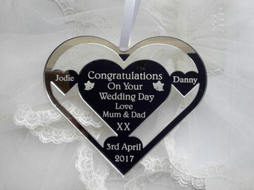 WEDDING DAY HEART HORSE SHOE PERSONALISED KEEPSAKE MR /& MRS BL EUR PERSONALISED