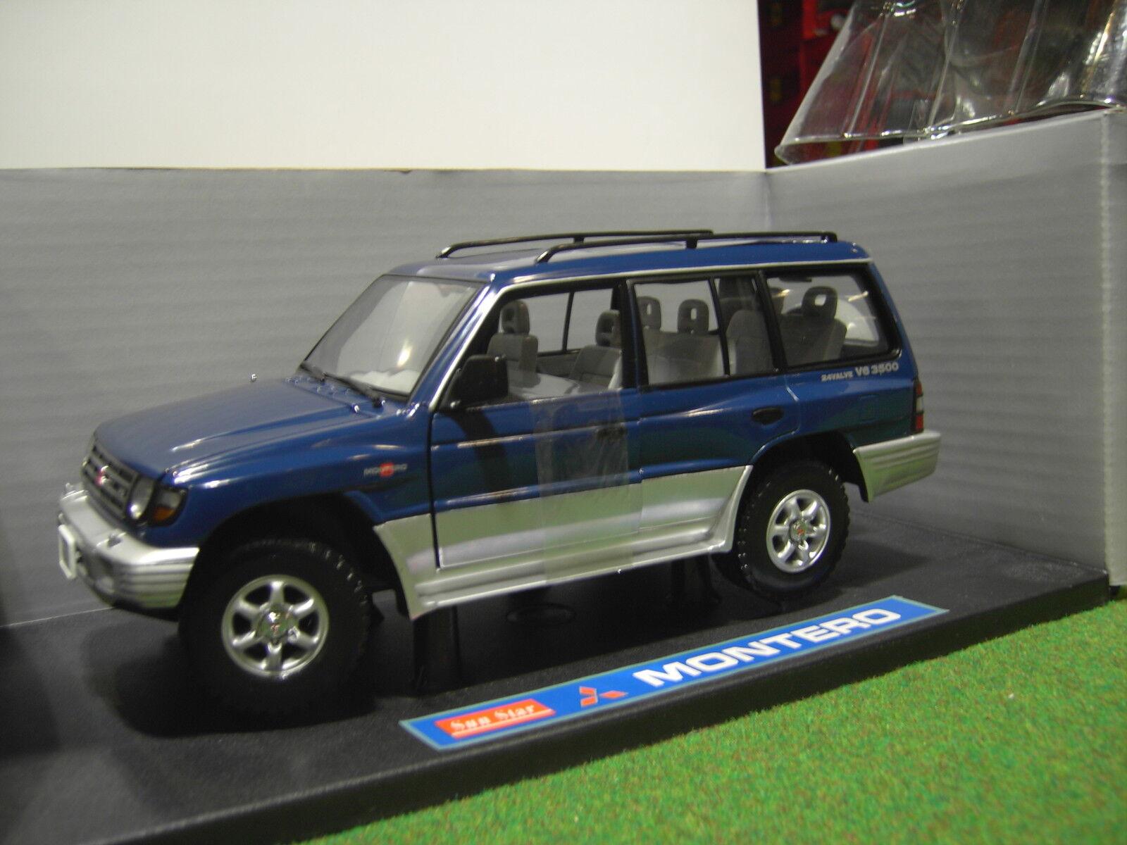 MITSUBISHI MONTERO 4X4 bleu  ( American ) o 1 18 voiture miniature SUN STAR 1215