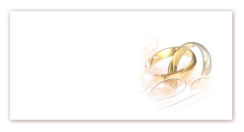 25 x Premium Briefumschläge DIN lang mit Motiv bedruckt Hochzeit Ringe UMS-5017