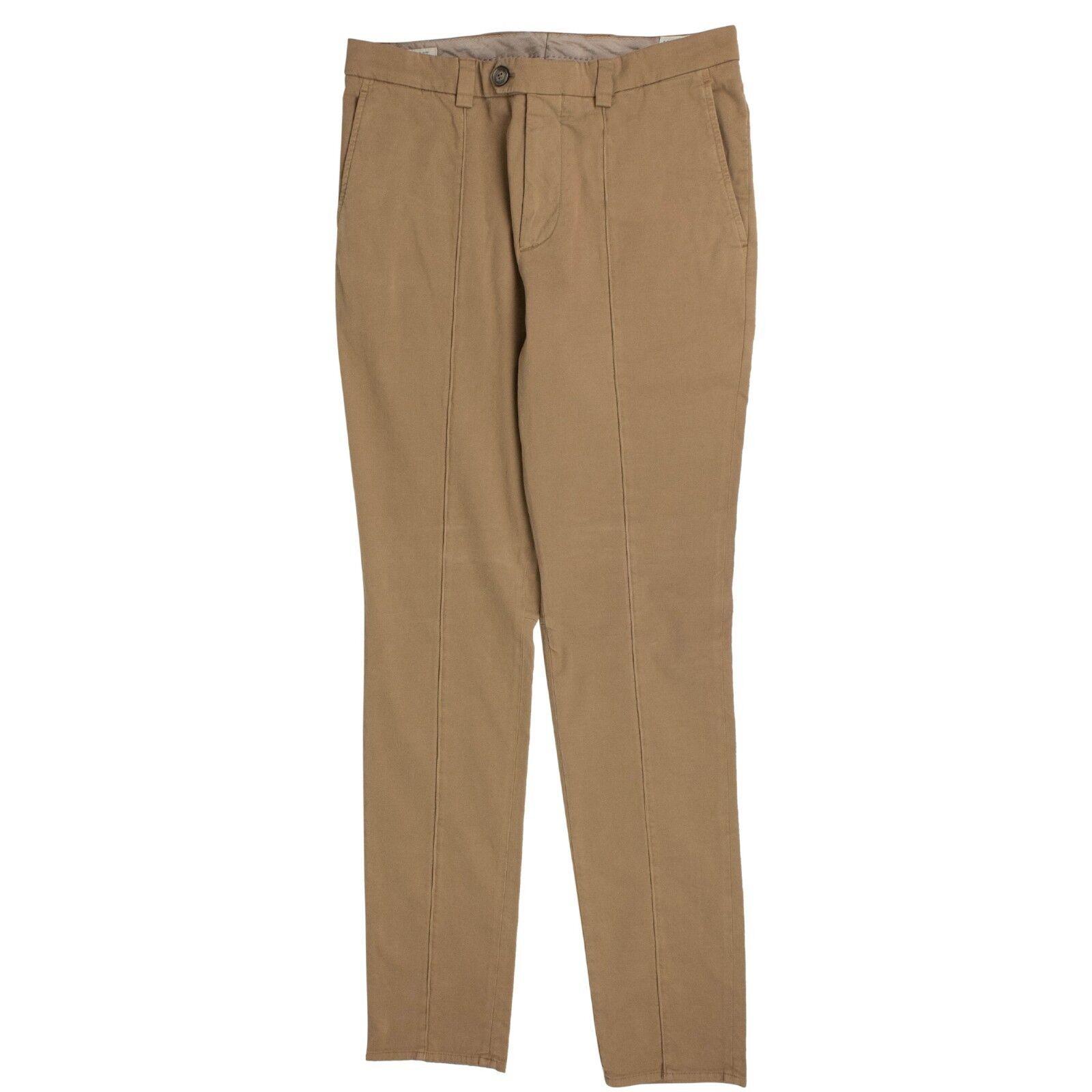 NWT BRUNELLO CUCINELLI Camel Cotton Crête Dress Pants 34 50