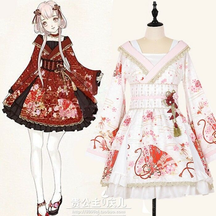 Mori Girl Sweet Kimono Kawaii Lolita Japanese Harajuku Flare Sleeve Dress 2018