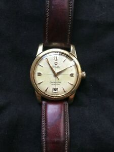 Omega-Seamaster-2627-Calendar-Vintage-14k-RARE-Rose-Gold-and-Waffle-Dial