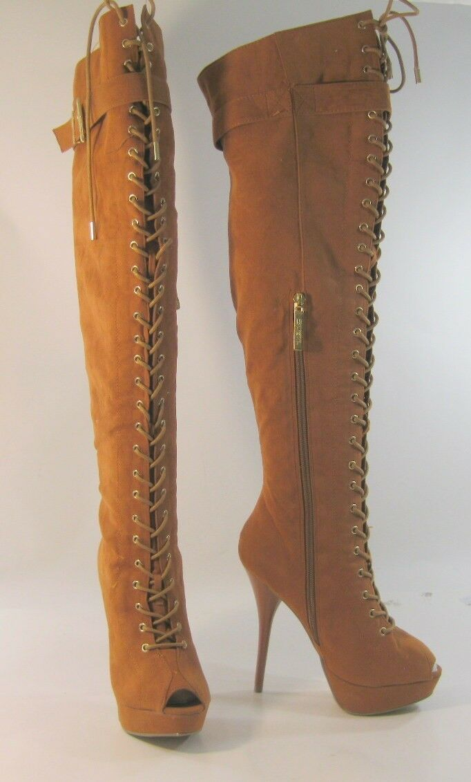 New Tan Rust 5.5 High Heel Open Toe  Lace Up Sexy over knee  Boots Size 6.5