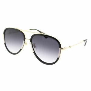 e9fe8dab409 Gucci GG 0062S 006 Black White Metal Aviator Sunglasses Grey ...