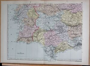 1890 LARGE VICTORIAN MAP IBERIA SPAIN PORTUGALSOUTH WEST