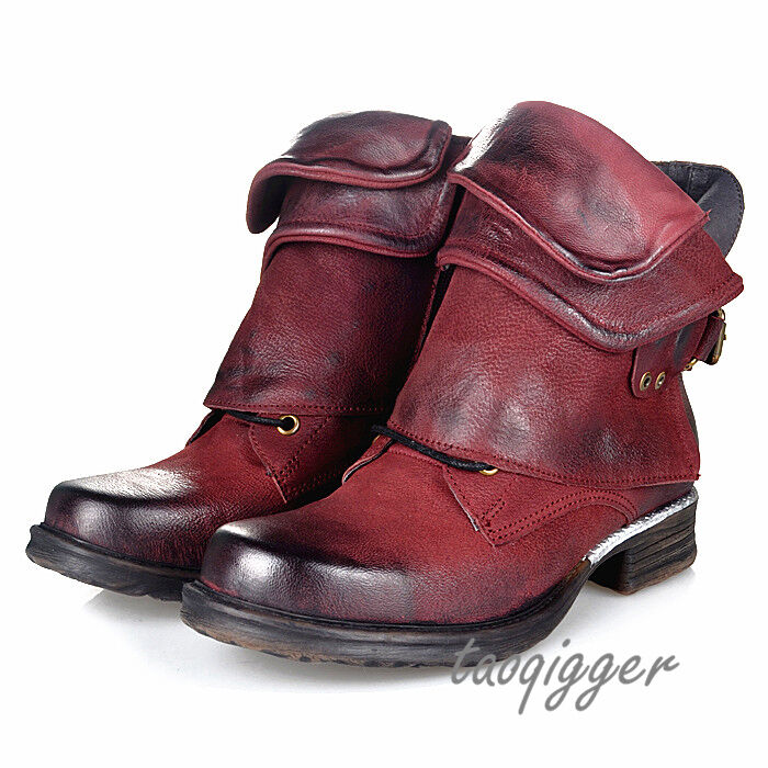 Donna British Retro Buckle Round Toe Ankle Boots Cowboy Leather Punk Boots Size