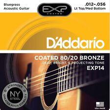 D'Addario EXP14 Coated 80/20 Bronze, Light Top/Med Bottom Acoustic Strings 12-56