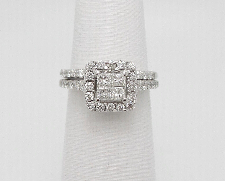 f1749f9f124b9 1CT Zales Diamond Ring gold White 14K Set Bridal Wedding Engagement ...