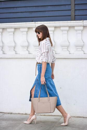 Zara Jean Blogger frontali con midi S taglia Gonna bottoni Blue rPq5zr