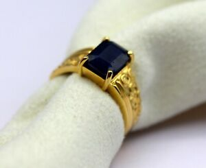 5.25 Ct Natural Gemstone Gold Ring with Blue Sapphire and 18K Yellow gold Size 7