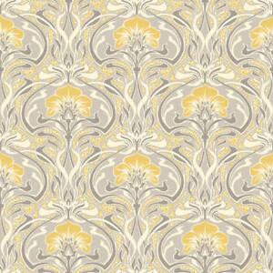 Image Is Loading Retro Damask Wallpaper Vintage Flora Nouveau Metallic Silver