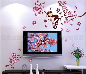 Image Is Loading Cute Monkey Cherry Blossom Tree Wall Decals Removable