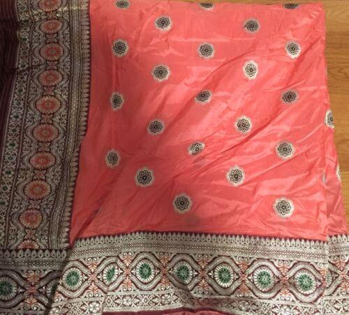 Vintage Indian Sari Saree Fabric Satin Blend Tangerine Gold Embroider