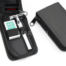 DE Safety Razor case Cover, Black Leather Shaving Travel Case With Steel Safety
