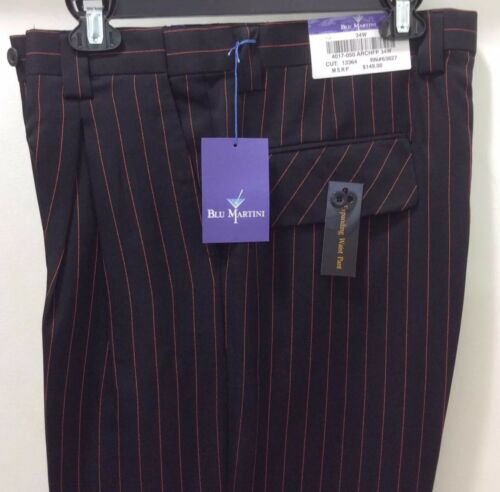 MEN/'S BLU MARTINI DRESS PANTS SLACKS TROUSERS STRIPE CUFFED BOTTOMS WIDE LEG NEW