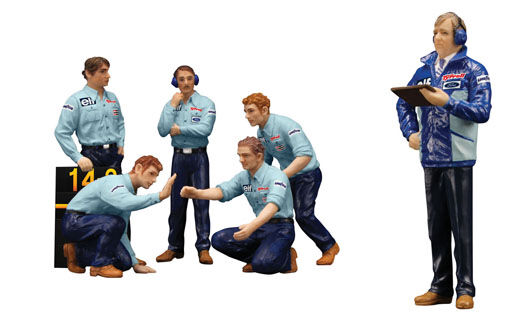 TSM 12AC12 F1 PIT CREW FIGURINES TEAM TYRRELL FOR 1 18 MODEL CAR