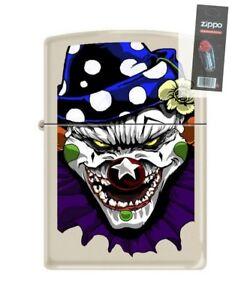 Zippo 0012 Evil Clown Cream Matte Finish Full Size Lighter + FLINT PACK