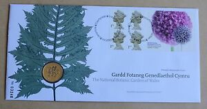 NATIONAL BOTANIC GARDENS OF WALES ROYAL MINT FDC + 2000 £1 WELSH DRAGON COIN UNC