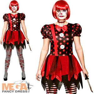 Image is loading Horror-Clown-Ladies-Fancy-Dress-Halloween-Scary-Circus-  sc 1 st  eBay & Horror Clown Ladies Fancy Dress Halloween Scary Circus Adults Womens ...