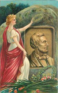 Artist C-1910 Patriotic President Lincoln Woman Wreath Postcard 21-5556