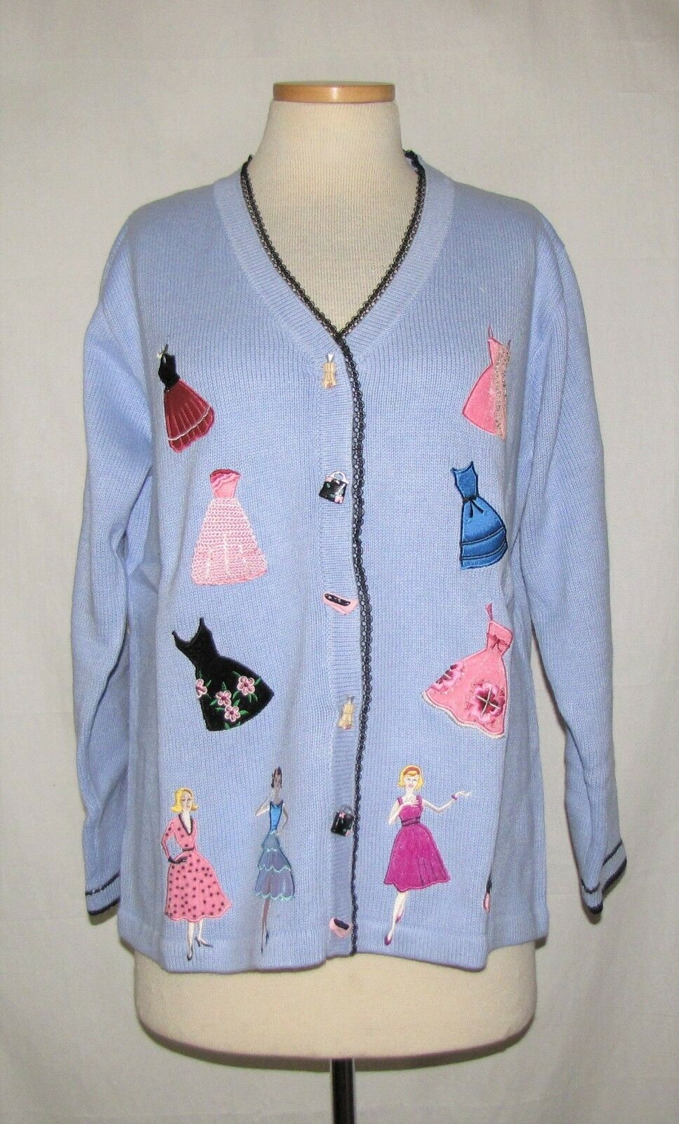 Storybook Knits 50s Fashion Show Periwinkle w Multicolor Appliques Sweater L NWT