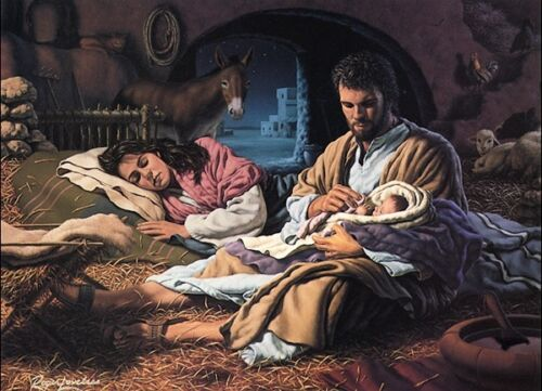 Roger Loveless IN THE HANDS OF THE FATHER 16x22 PAPER Nativity Christmas Picture