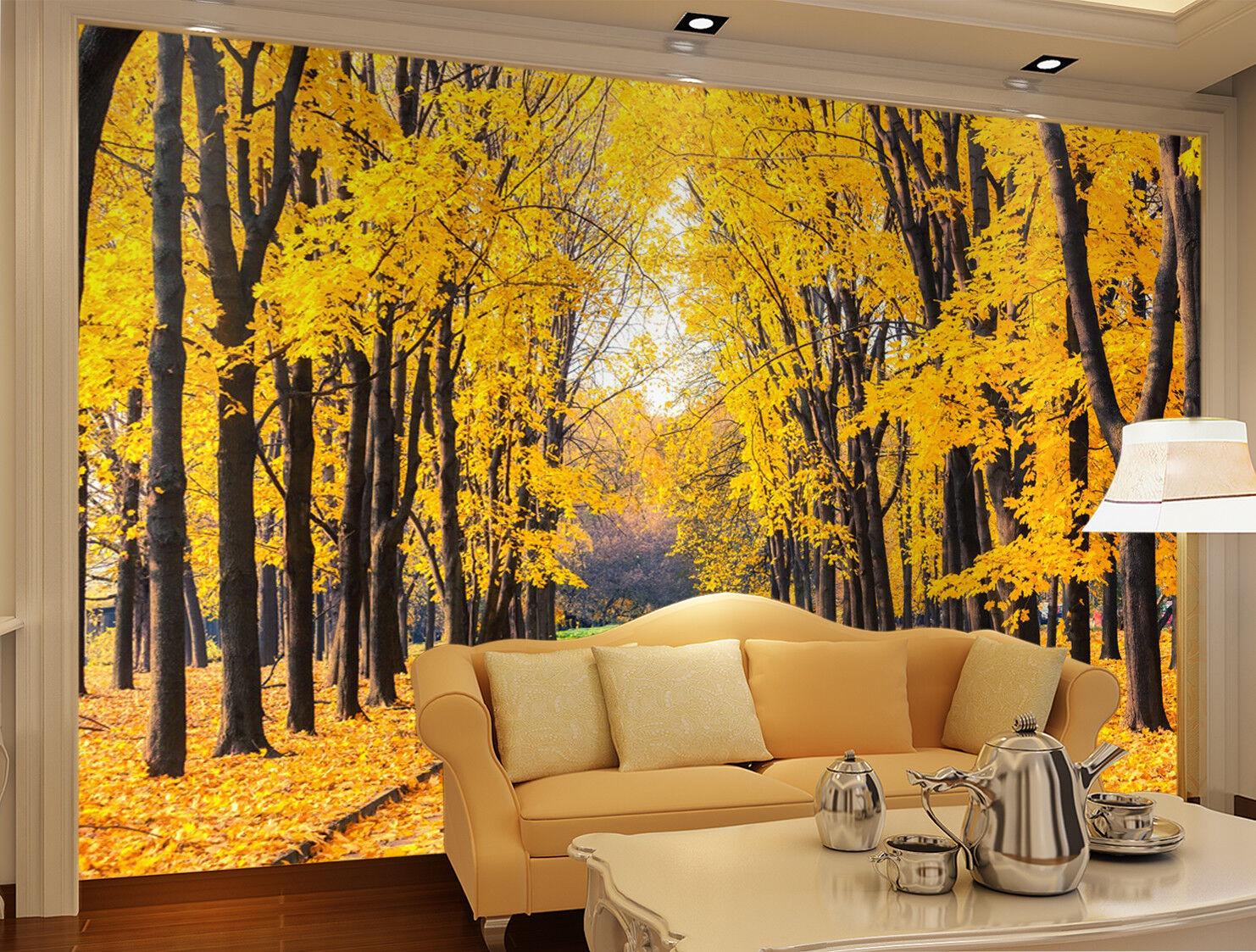 3D gold Ginkgo Woods 7 Wall Paper Murals Wall Print Wall Wallpaper Mural AU Kyra
