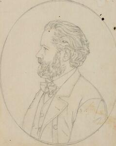 Profilportraet-eines-baertigen-Mannes-Skandinavien-um-1890-Bleistiftzeichnung