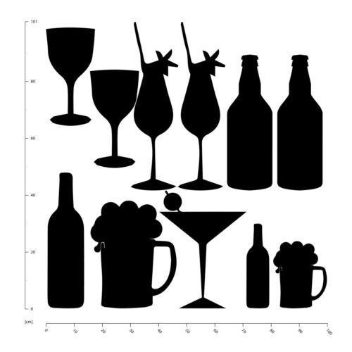 Bar Drinks Beer Cocktails Wine Wall Sticker Set WS-33297