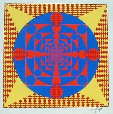 Henry Rogers Op Art Serigraph Mid-century Modern Hard Edge Geometric Print !!