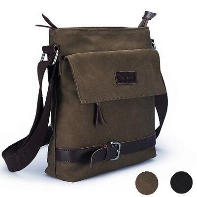Men's Canvas Shoulder Messenger Rucksack Backpack School Travel Bag Satchel