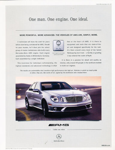 Vintage Advertisement Ad A19-B more advanced 2007 Mercedes Benz E63 AMG