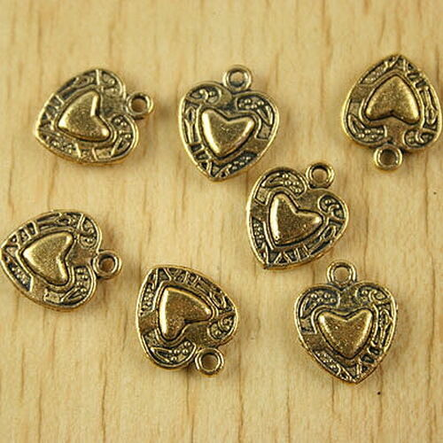 20pcs dark gold-tone heart in heart frame charms h2052