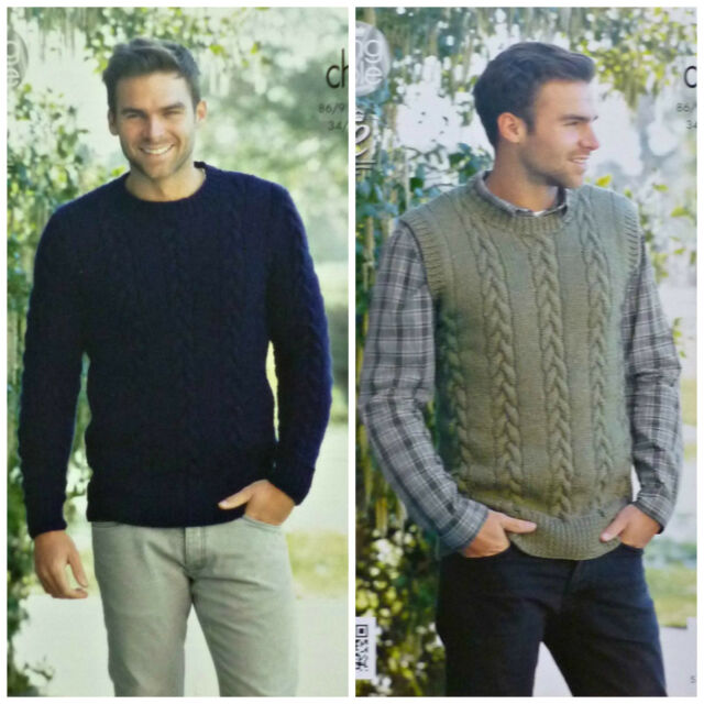 King Cole 4282 Knitting Pattern Mens Sweater And Slipover In Magnum