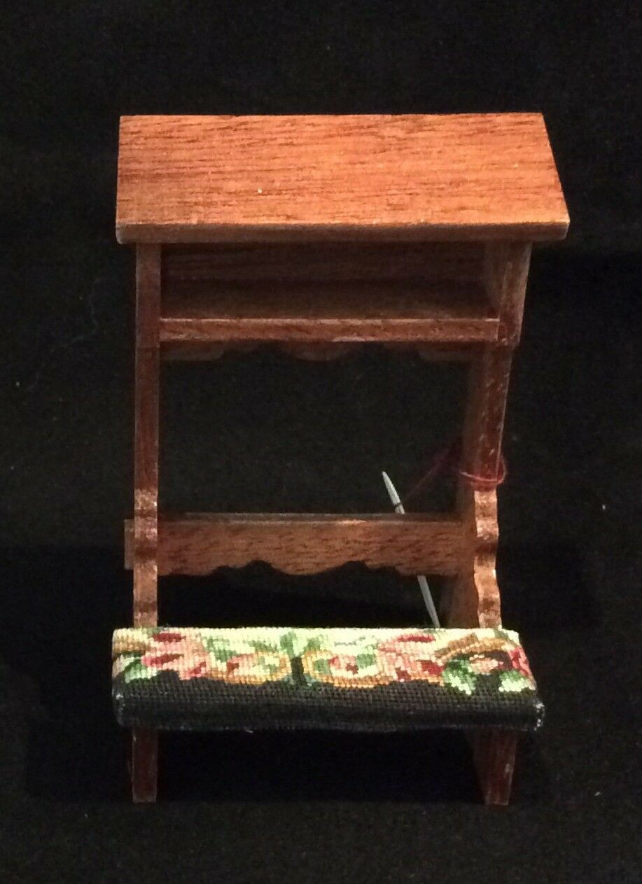 Miniature Dollhouse church pew with antique petit point - needlepoint.