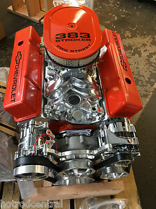 Details about 383 Stroker roller Crate Engine chevy TURNKEY 440hp with A/C  Belt Drive Kit look