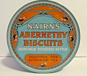 Nairn-039-s-Abernethy-Biscuits-Tin-Round-Advertising-Oatcake-Rutherglen-Scotland-Vtg
