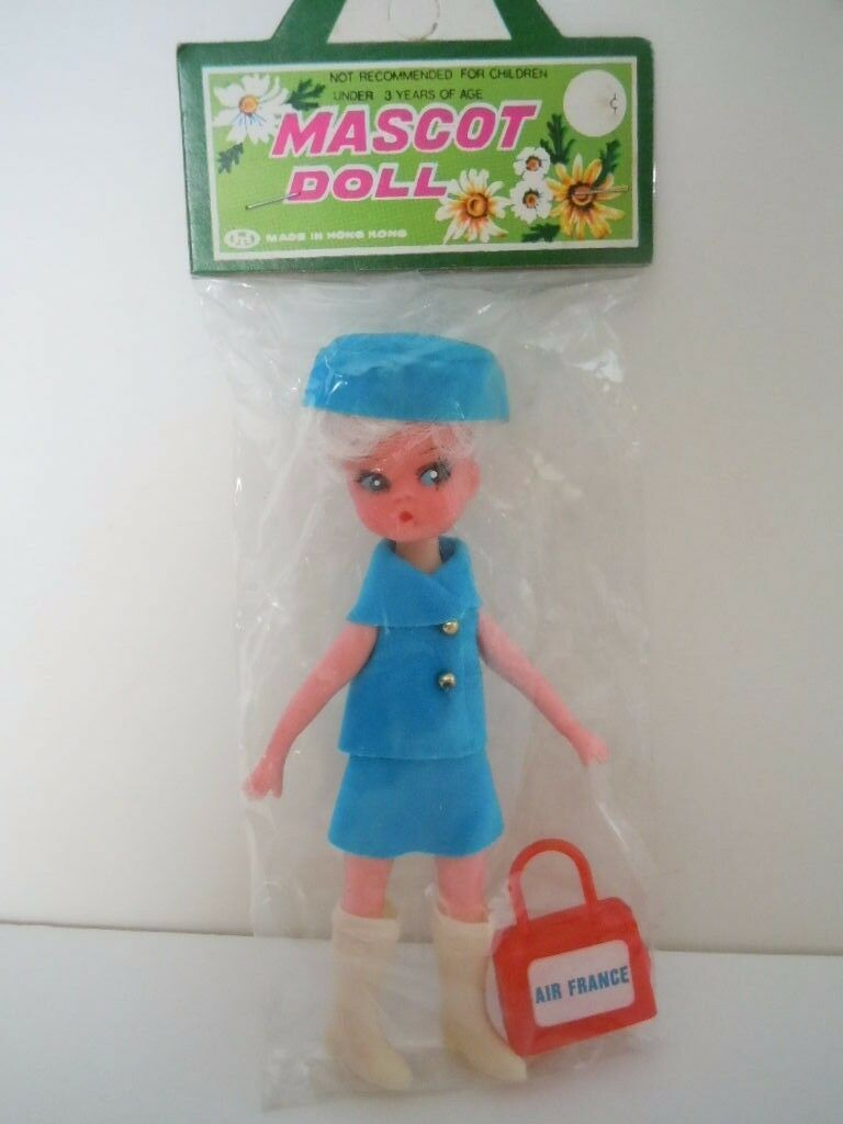 SUPER RARE 1970'S DOLLY DARLINGS CLONE AIR FRANCE AIRLINE STEWARDESS MASCOT DOLL