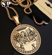 """Gold Stainless Steel Jesus Last Supper CZ Pendant & 24"""" Round Box Chain Necklace"""