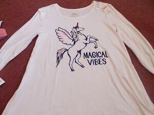 Justice Lot of 2 Girls 14//16 Long Sleeve Swingy Tee paris unicorn magical vibe
