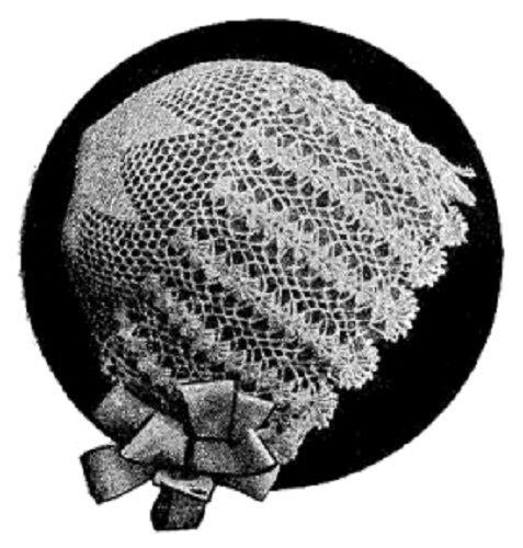 Vintage Crochet PATTERN Baby Bonnet Cap Hat