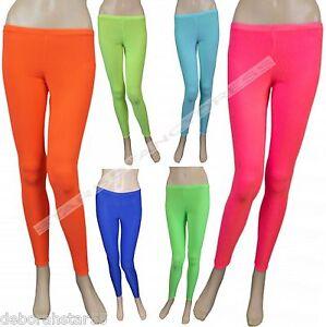 cd66ad8fa333e Image is loading Girls-Leggings-Neon-Pink-Orange-Green-Yellow-Dance-