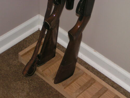 Solid Oak Closet Gun Rack with Floor Rest 8 gun