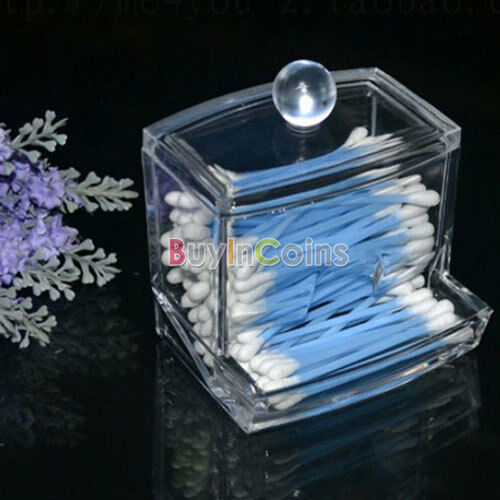 Acrylic Q-tip Holder Box Cotton Swabs Storage Cosmetic Makeup Case Nail Wipes