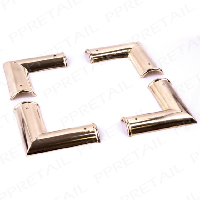 Pack of 4 Picture Frame Corner Brackets 75mm Polished Brass Rounded ...