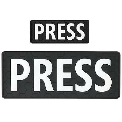 set of 2 PRESS rubber PVC badge plate carrier body tag patches VELCRO® brand